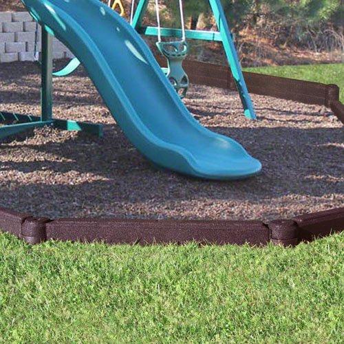 KIDWISE FlexiStack 4 Foot Rubber Border - Brown - Landscaping  Gardening or Playground Edging