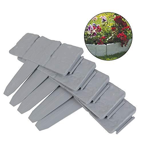 OTOEZ 10203050Pcs Plastic Garden Edging Border Stones Effect Fence Lawn Plant Border Flower Bed Protection Landscape Décor,10Pcs