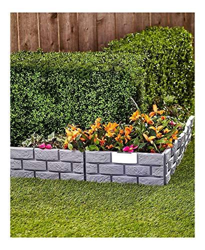 Solar Lighted Brick Look Garden Border Flowerbed Border Landscape Edging Yard Gray
