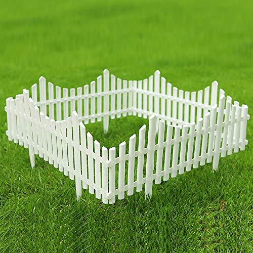 Sungmor Pack of 4 Garden Picket Fence96 Inch Plastic White EdgingsGrass Lawn Flowerbeds Plant BordersLandscape Path Panels