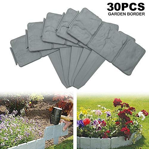 uyoyous 30Pcs Grey Garden Lawn Edging Plant Border - Decorative Flower Bed Interlocking Outdoor Lawn - 735 Meter