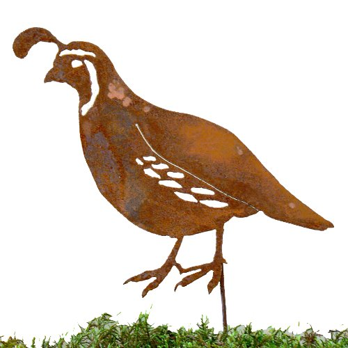 Elegant Garden Design Male Quail Stake Steel Silhouette with Rusty Patina