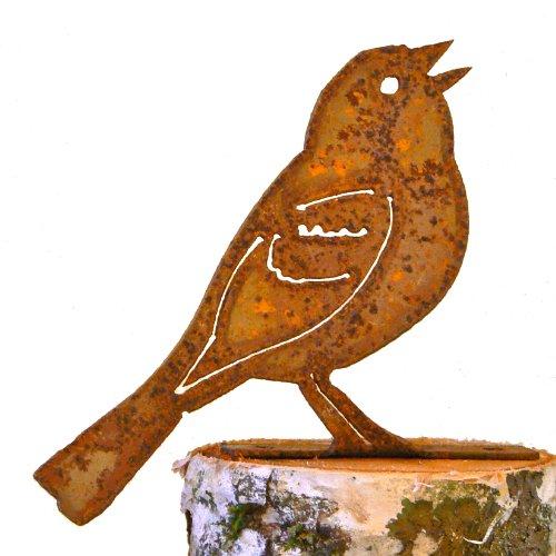 Elegant Garden Design Vesper Sparrow Steel Silhouette with Rusty Patina