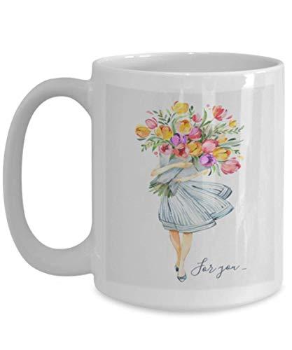 Tulip Flower Girl Funny Ceramic Mug Coffee Tea Birthday Gift Garden Idea Women