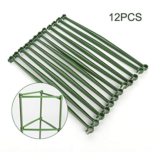 Develoo 24 PCS Expandable Trellis Connectors-118 Garden Plants Stake Arms with 2 Buckles for Tomato Cage Attach 16mm Diameter Plant Stakes Without Stake