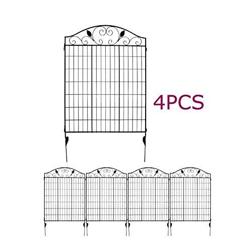 Black Steel Decorative Fence Panel 2 leaves metal garden border folding fences Pkg of 4