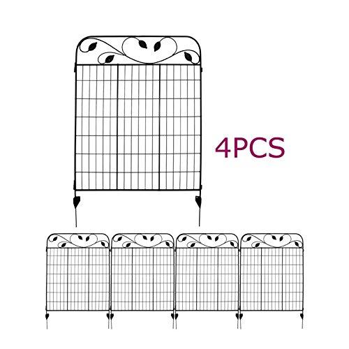 Black Steel Decorative Fence Panel 5 leaves metal garden border folding fences Pkg of 4