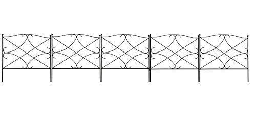 """Amagabeli Garden Patio Plants Decorative Landscape Black Folding Iron Border Fence Panels Concise Design 24"""" By"""