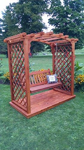 A L Furniture 6 Jamesport Cedar Arbor with Deck Swing Walk Thru 72W x 40D x 81H Outside 87W x 47D x 90H Redwood