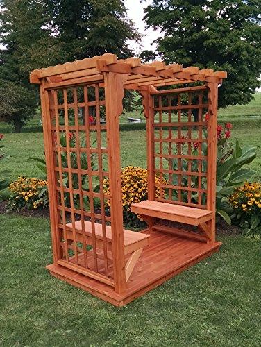 Amish-Made Lexington Style Cedar Arbor with Deck 2 Benches - 6 Wide Walkthrough Cedar Stain