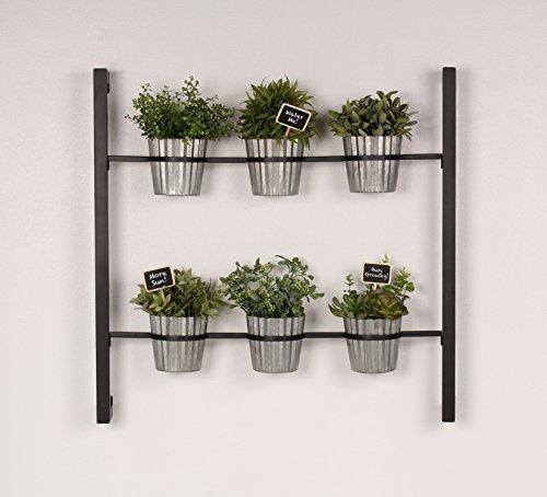 Kate and Laurel Groves Indoor Vertical Herb Garden Hanging 6 Pot Wall Planter Black