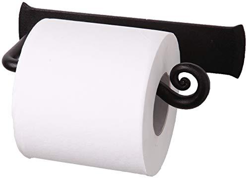 RTZEN Wrought Iron Toilet Paper Holder  Black TP Roll Hanger  Wall Mounted Rod Handmade Roll Hanger Décor