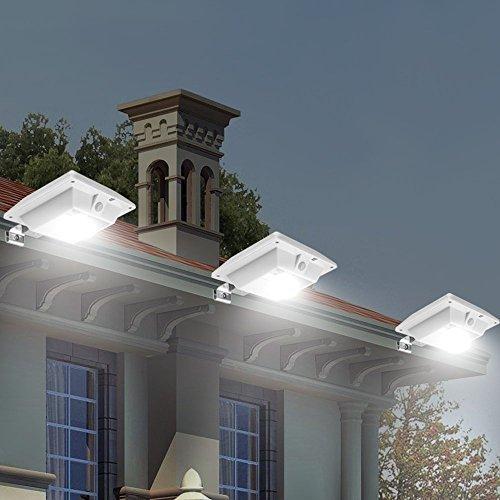 【New Version PIR Sensor】GMFive 4 LED PIR Sensor Motion Waterproof Solar Powered Outdoor Garden Fence Post Wall Mount Light Security Lamp Night Light