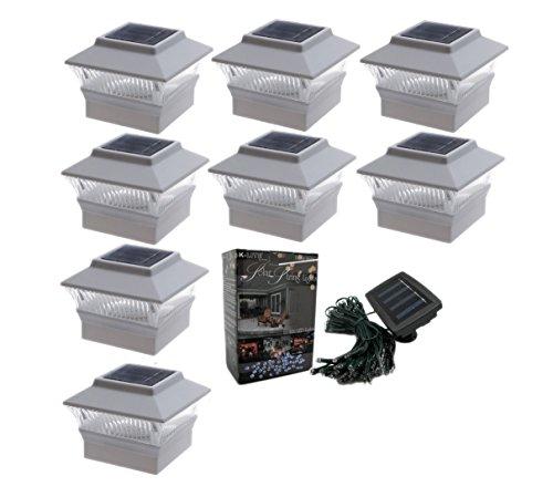 8-pack 4x4 Outdoor Garden Solar Led White Post Cap Pvc Fence Pathway Landscape Square Light Lights  Free Bonus