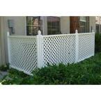 3 ft H x 4 ft W White Modular Vinyl Lattice Fence Panel 4-Pack