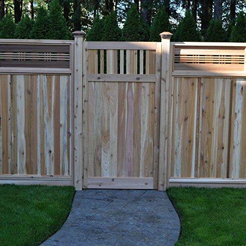 3 ft x 6 ft Western Red Cedar Flat Top Vertical Lattice Fence Gate