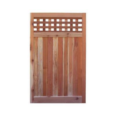 Signature Development 35 ft H W x 6 ft H H Western Red Cedar Flat Top Checker Lattice Fence Gate