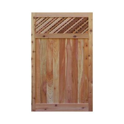 Signature Development 35 ft H W x 6 ft H H Western Red Cedar Flat Top Supreme Lattice Fence Gate