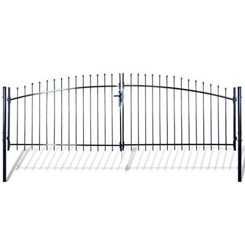 Festnight Outdoor Double Door Garden Fence Gate with Spear Top 5 x 13 Heavy Duty Steel Door Fence Practical Barrier Wall with 3 Keys Black