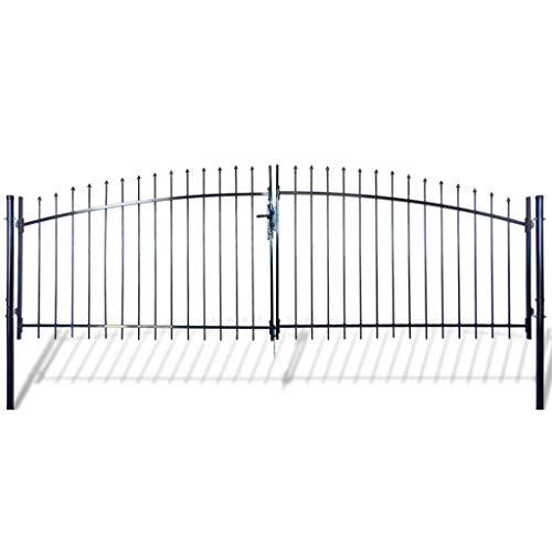 GOTOTOP Outdoor Double Door Garden Fence Gate with 3 Keys Spear Top Heavy Duty Steel Door Fence Practical Barrier Wall for Garden Patio Terrace PastureEntry Way 13 x 5