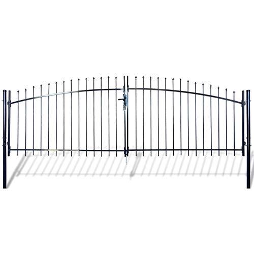 GOTOTOP Steel Garden Gate Outdoor Double Door Garden Fence Gate with Spear Top 6 x 13 Door Fence Practical Barrier Wall with 3 Keys Multipurpose Protective Lattice for Garden Patio Yard Outdoor Use