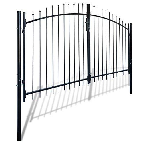 Millifly Outdoor Decorative Garden Gate Heavy Duty Door Fence Gate with Spear Top Practical Durable Barrier Double Door 10 x 5