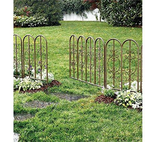 Plow Hearth 51542-GUN Montebello Iron Metal Scroll Outdoor Garden Fence with Gate 72 L x 34 H Burnished Bronze Finish