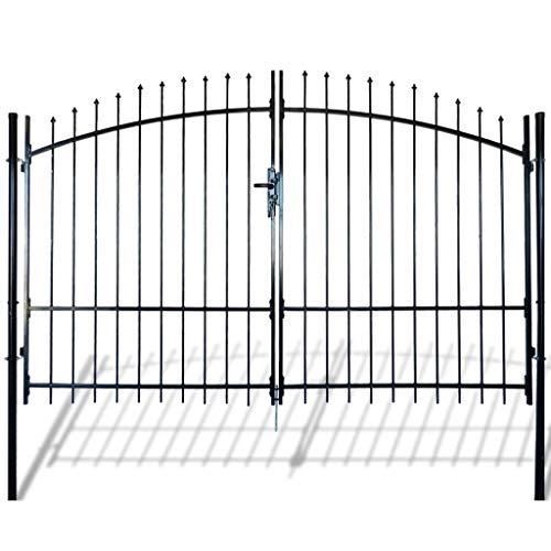 vidaXL Outdoor Double Door Garden Fence Gate with Spear Top Green Heavy Duty Steel Door Fence Practical Barrier Wall for Yard Patio Entry Way on Soil or Concrete Black10 x 8