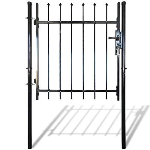 vidaXL Outdoor Single Door Garden Fence Gate with Spear Top Green Heavy Duty Steel Door Mesh Fence Practical Barrier for Outdoor Yard Patio Entry Way on Soil or Concrete Black39 W x 59 H