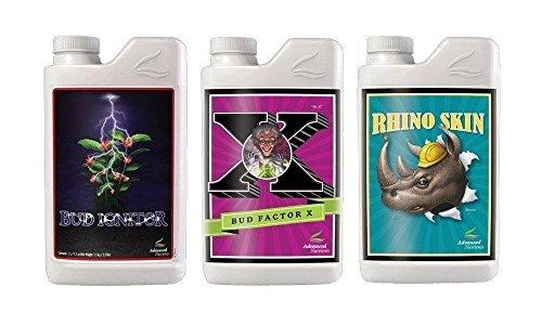 Advanced Nutrients Grand Master Grower Bundle Bud Ignitor Rhino Skin Bud Factor-X Plant Fertilizer Booster Enhancer 1 L