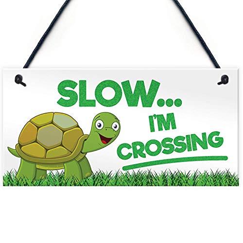 Cheyan Slow Im Crossing Turtle Tortoise Hanging Plaque Reptile Garden Tank Sign