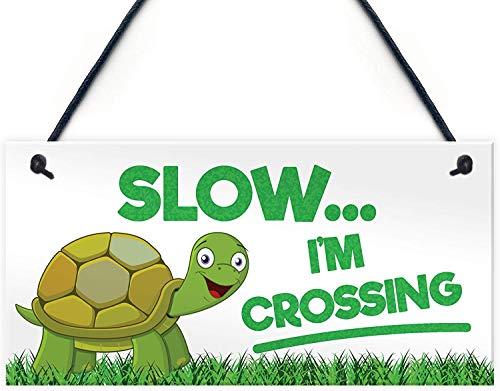 Puernash 5 x 10 Inchs Wooden Hanging Sign Slow Im Crossing Turtle Tortoise Plaque Reptile Garden Tank