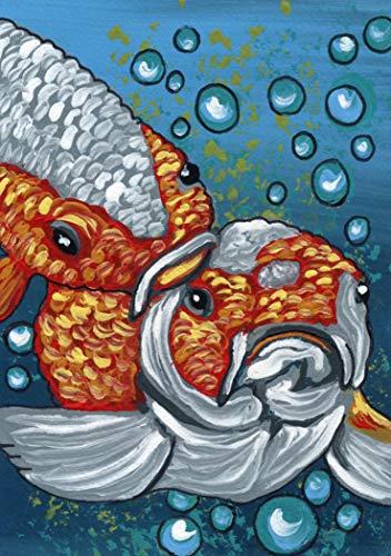 ACEO ATC -Original Koi Goldfish Pond Fish Art Miniature Painting-Carla Smale