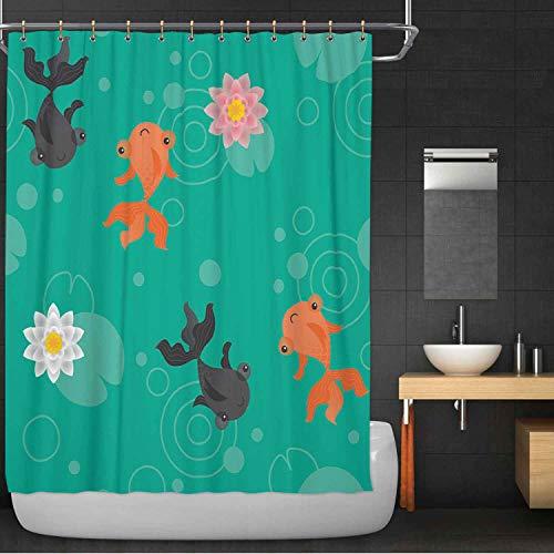 MOOCOM Cute Kawaii Goldfish Pond Pattern Green 100 Polyester Waterproof Shower Curtain104423 for wash Bath72 in x 72 in