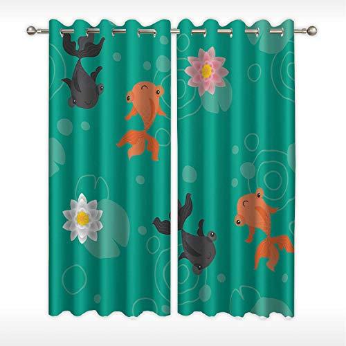 MOOCOM Cute Kawaii Goldfish Pond Pattern Green Window Curtain Rod Black104423 for Corporate Media RoomW58in x H45in