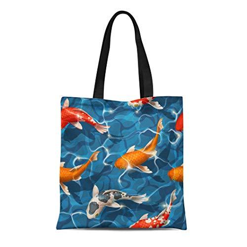 Semtomn Cotton Canvas Tote Bag Colorful Fish Koi Carps Red Pattern Goldfish Pond Asian Reusable Shoulder Grocery Shopping Bags Handbag Printed