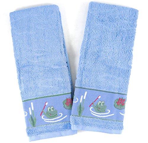 BigKitchen Blue 100 Cotton Bathroom Hand Towel with Frog Pond Design Set of 2
