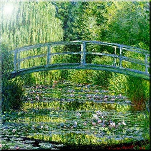 Rikki Knight Monet Water Lily Pond Design Art Ceramic Tile 4 by 4-Inch