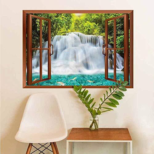 Waterfall Window Art Sticker Fog Clouds Clear Pond Landscaping Decoration W12xL18 INCH