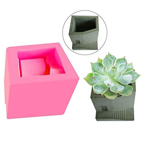 DIY Silicone Flower Pot Molds Small House Stairs Shaped Cement Pots Mold Flower Vase Plant Mould for Candle Holder Making Succulent Plants Pot Mould Concrete Moulds Color Random
