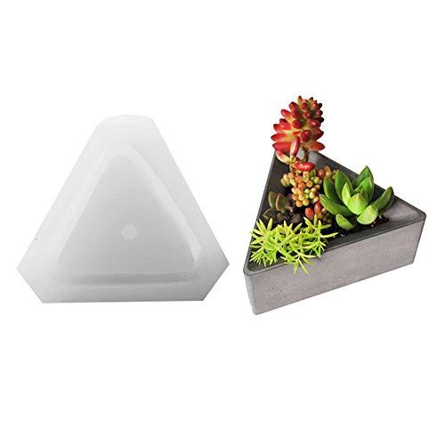 Oyov2L Triangle Silicone Succulents Plant Pot Cement Concrete Mold Home Decoration White