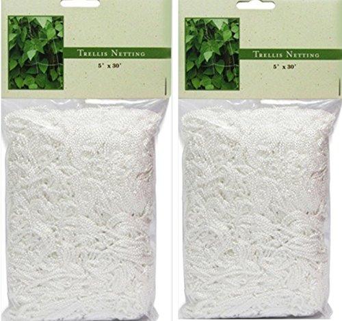 2 Pack - 5 X 30 Heavy Duty Vertical Garden Trellis Mesh Netting White