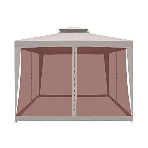 ALEKOÂ GZB002 Double Roof 10 X 10 Foot Polyester Patio Gazebo with Mesh Netting Picnic Sun Shade Sand