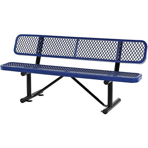 72 L Expanded Metal Mesh Bench wBack Rest Blue