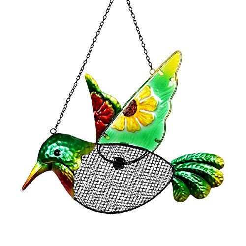 Exhart Metal Hummingbird Hanging Bird Feeder wMetal Mesh Seed Basket - Features Sunflower Painting on Green Hummingbird wMetal Embossing Design Garden Art Metal Bird Feeders 15 x 18 Inches
