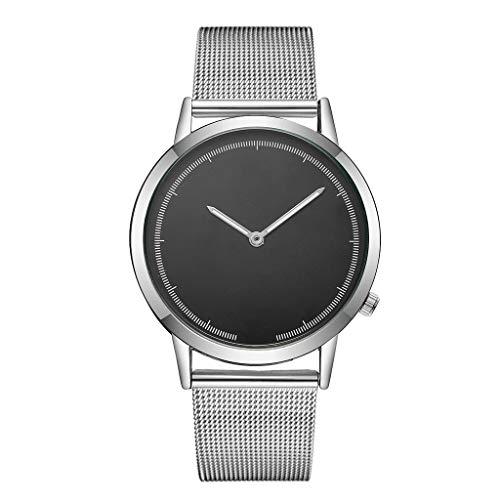 Male Slim Simple Stainless Steel Woven Mesh Strap Wrist Watch Simple Design Analog Display Quartz Watch E