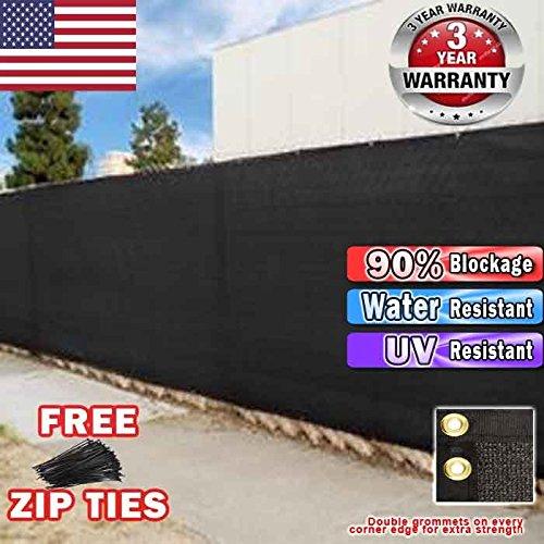 EVERGROW Free Zip Ties 5 x 50 feet Black Fence Privacy Screen Mesh Fabric Garden