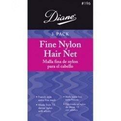 Diane Fine Nylon Hair Nets - Medium Brown 3 Pack