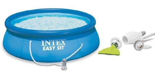 Intex 10 x 30 Easy Set Swimming Pool 330 GPH Filter Pump with Skooba Vacuum