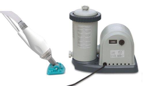 Intex 1500 GPH Easy Set Swimming Pool Filter Pump w GFCI Skooba Max Vacuum